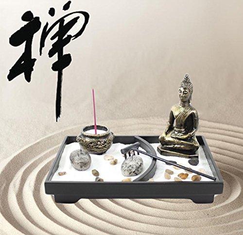 Tabletop Incense Burner Gifts & Decor Zen Garden Kit with Statue Candle Holder ~ USA SELLER!! (Buddha big)