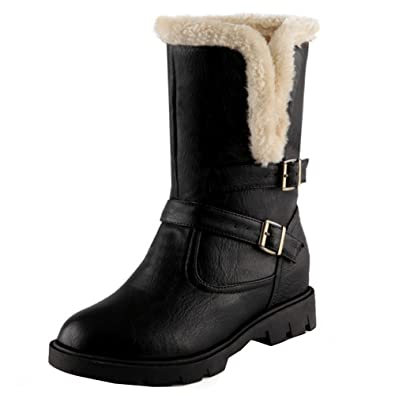Women Winter Warm Outdoor Flat Half Snow Boots With Buckle