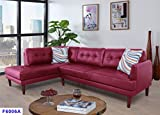 Beverly Fine Furniture SH6006A Emeral Left Facing Faux Leather Sectional Sofa, Red