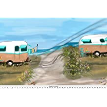 Camping Fabric - Large Print Camping At Shore #2 by salzanos - Camping Fabric with Spoonflower - Printed on Fleece Fabric by the Yard