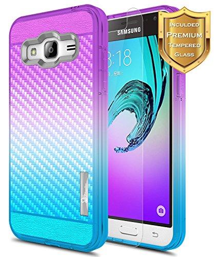NageBee Samsung Galaxy J3 Case (2016), Sky /J36 V /J3 V/Sol/Amp Prime/Express Prime w/[Tempered Glass Screen Protector], Frost Clear [Carbon Fiber] Slim TPU Protective Bumper Cover Case -Purple