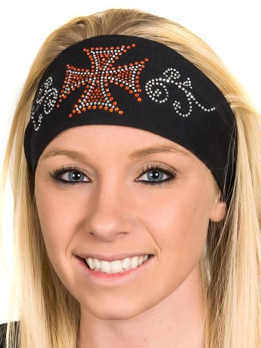 Open Road Girl Hair Bandana: Wide Headbands for Women: Biker Chick Head Wrap: Biker Cross (Orange)