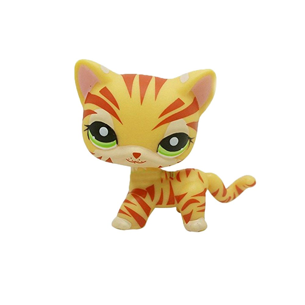 Pet Shop Rare Yellow Orange Tiger Cat Kitten Kitty Green Eyes LPS #1451 Gift Family Friends Doll crossed3_Pet toy store