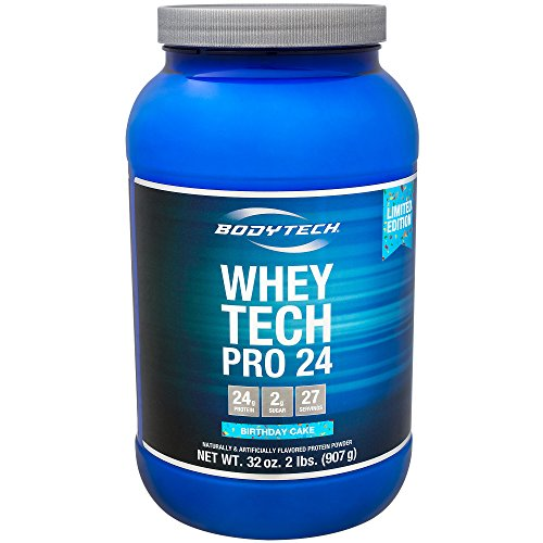 BodyTech Whey Tech Pro 24 Protein Powder Protein Enzyme Blend with BCAA's to Fuel Muscle Growth Recovery, Ideal for PostWorkout Muscle Building Birthday Cake (2 Pound)