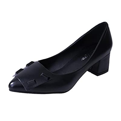 Hyperbole Women's Pointed-Toe Rivet Block Heel Slip-on Court Shoes B(M) US 8 Black