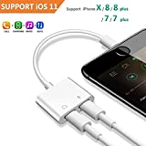 2 in 1 Lightning Headphone Jack Charger Adapter iPhone X 8 7 6 Plus, Converter AUX Female Audio Charging Adaptor Cable Support Volume Control Call Sync Data