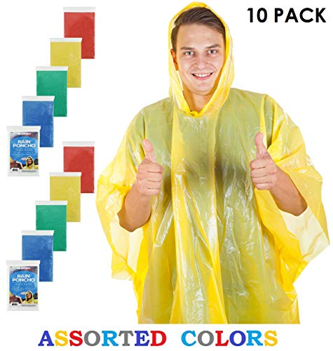 Wealers Poncho One Size Fit All with Hood 10 pieces in display box, 5 different colors 2 Red 2 Blue 2 White 2 Yellow 2 Green. Perfect to Keep in Emergency Kit, Backpack, Home, Office, Car, Pocket, In