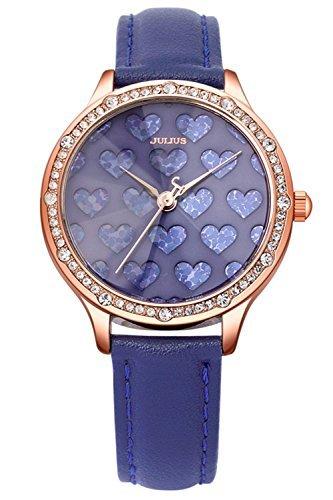 Julius ja-851d Mujer Rosa tono dorado Love texturados esfera azul correa de  cuero reloj 2193f89e2b33