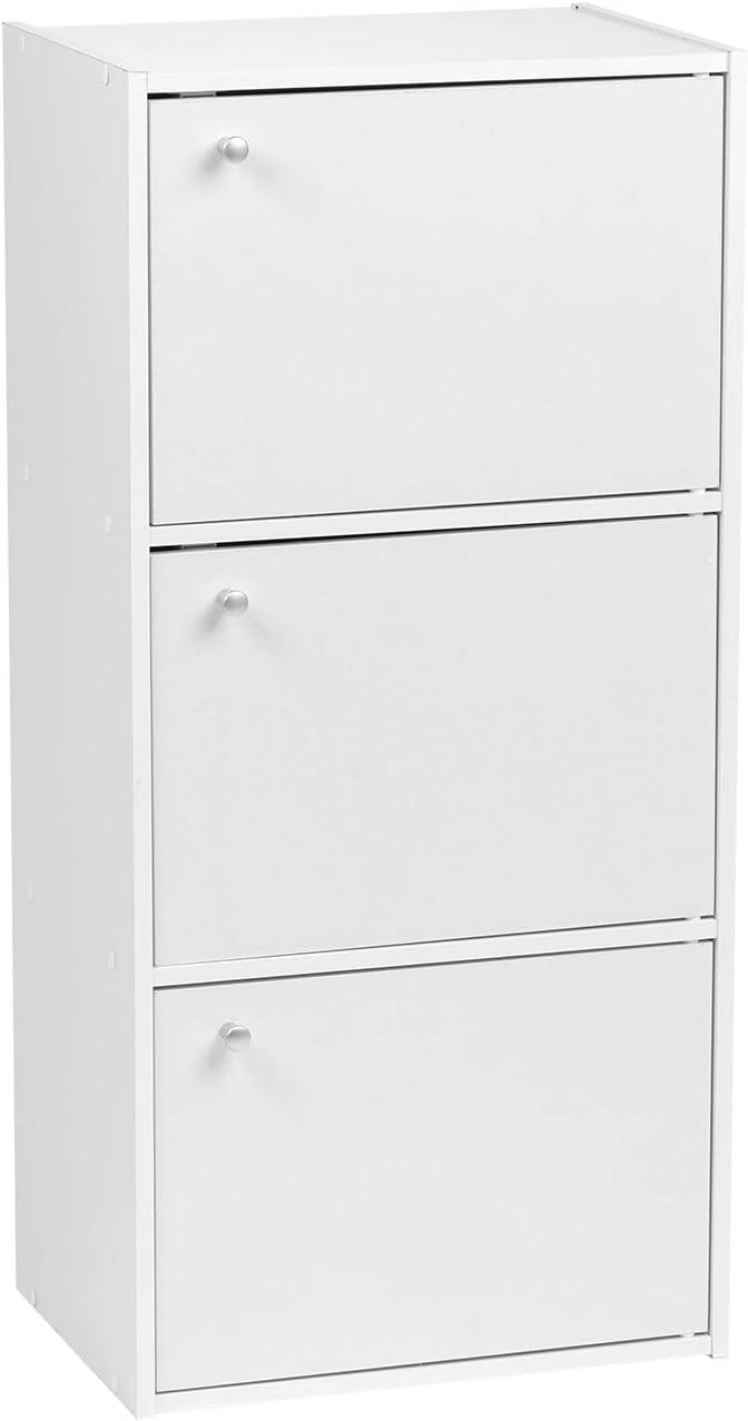 IRIS USA, Inc. 3-Door Wood Storage Shelf, 3-Tier, White