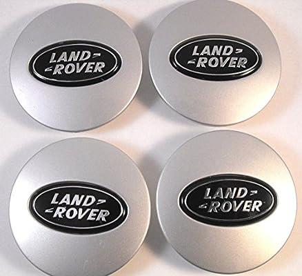 4 x Land Rover 63 mm Buje tapas Buje Tapa Tapacubos Llanta Tapa Plata/Negro Logo
