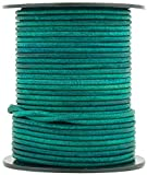 Turquoise Natural Dye Round Leather Cord 1.5mm 100 Meters (109 Yards)