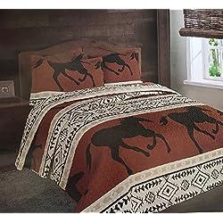 Luxurious Southwest Wild Running Horses Western Quilt Set Bedspread - 3 Piece Set (King)