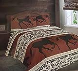 Luxurious Southwest Wild Running Horses Western Quilt Set Bedspread - 3 Piece Set (Queen)