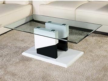 Blanc Table Trempé Noir Mdf Laqué Basse Apolline Verre Et EDeW9HI2Y