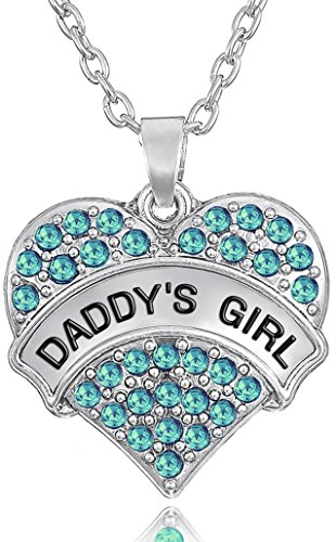'Daddy's Girl' Heart Necklace for Daughters, Birthday Jewelry Gifts from Father/Dad, Stocking Stuffer for Little Girls and Teens (Aqua Blue)