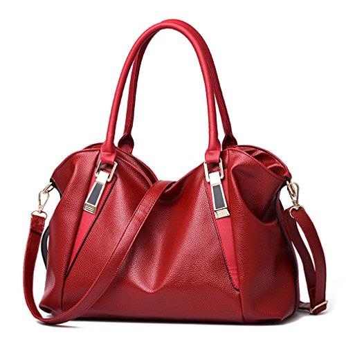(Herald PU Leather Bags Handbags Ladies Portable Shoulder Bag Office Ladies Hobos Bag Totes Red)