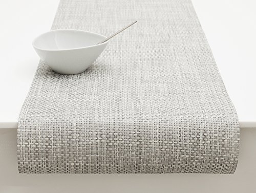 "Chilewich Basketweave Table Runner 14"" X 72"" White/Silver"