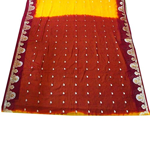Georgette Drape - Indian Dress Sari Women Curtain Drape 5YD Weaving Work Fabric Vintage Saree Home Decor Georgette Recycled Fabric Scrap Sari Fabric