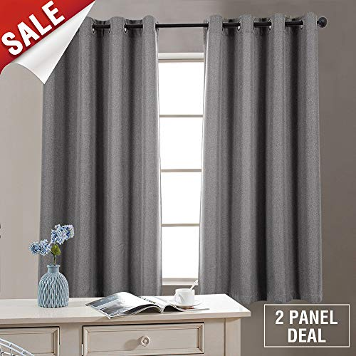 Texured Design - Blackout Curtains 63 inch Grey 2 Panel Bedroom Linen Texured Gray Linen Curtains for Living Room
