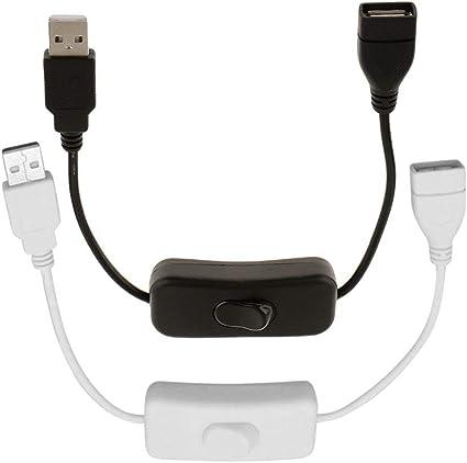 Image ofNoyoKere Cable USB USB a Hembra de 28 cm con Interruptor de Encendido/Apagado Extensión de Cable de Carga USB para lámpara USB