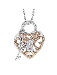 Sterling Silver Rose Plated 1/8ct TDW Diamond Filigree Heart Lock and Key Necklace (I-J I1-I2)