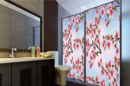 Horrisophie dodo 3D Privacy Window Film No Glue,Japanese,Decorative Sakura Petals on Vivid Sunny Weather Day with Pink Blossoms Spring Theme,Pink Blue,47.24
