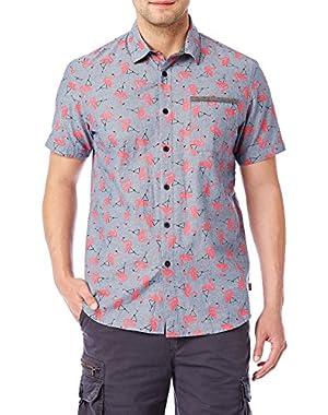 Men's Classic Short Sleeve Poplin Button-up Woven Shirt