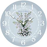 White Flowers Wall Clock, Available in 8 sizes, Most Sizes Ship 2 – 3 days, Whisper Quiet.