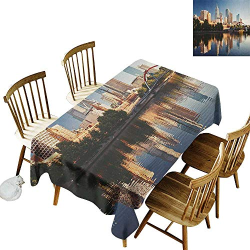 Floral Rectangular Tablecloth W54 x L90 City Idyllic View of Yarra River Melbourne Australia Architecture Tourism Dark Blue Ivory Dark Green Suitable for Home Coffee Bar Party Wedding & - Melbourne 84 Light 3