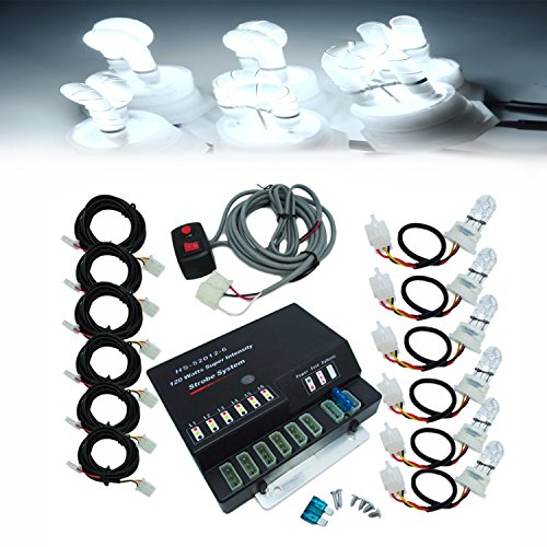 Ediors® 6 HID Bulbs 120W Hide-A-Way Emergency Hazard Warning Headlight Truck Strobe Light Kit System