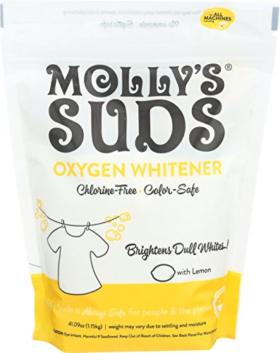 Molly's Suds Oxygen Whitener - All Natural, Brightens Dull Whites, Great for Hard Water, Free of Bleach & Chlorine. Gentle on Sensitive Skin & Eczema. Perfume Free - Contains Pure Lemon Essential Oil