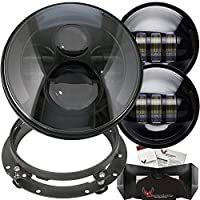 "Eagle Lights 7"" Round 8700 Black Harley Daymaker LED Headlight with Matching Black Passing Lamps, Adapter Ring and Free T-Shirt"