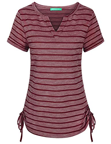 Kimmery V Neck Shirts for Women, Basic Essential Short Sleeve Jersey Tee Light Weight Holiday Party Business Workout Tops Comfortable Leisure Drawstring Stylish Hot Weather Summer Tunics Striped XXL ()