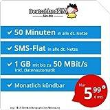 DeutschlandSIM LTE Mini SMS 1 GB [Sim, Micro-Sim und Nano-Sim] monatlich Kündbar (1 GB LTE mit Max. 50 Mbit/s + Datenautomatik, 50 Minuten, SMS-Flat, EU-Roaming Inklusive, 5,99 Euro/Monat)