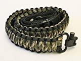 Hunting Crossbow - Gun Sling Paracord 550 Adjustable w/ Swivels (Multiple Color Options) (Black & Dark Green Camo)