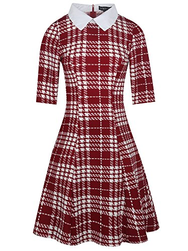 oxiuly Women's Long Sleeve Turn Down Collar Party Cocktail Casual A-Line Dress OX272 (XL, Red Plaid Short)]()