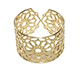 Unisex Gold Plated Adjustable Cuff Bracelet Rose Flower Bangle Laser Cut Sundial Geometric Abstract Motif