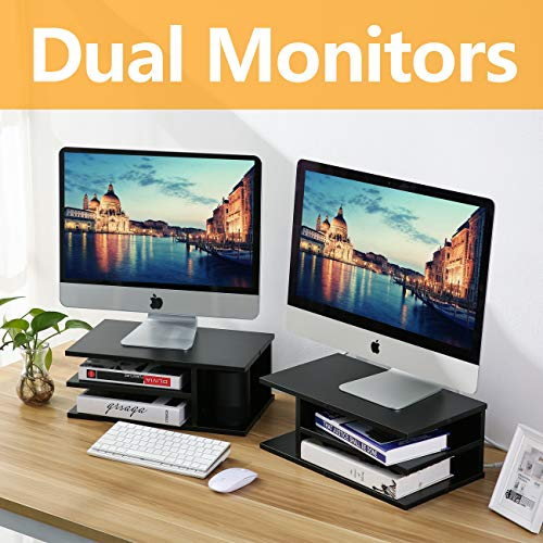 Rfiver Wooden Home Office Supplies Desk Organizer Set, Printer Stands, Computer Tabletop Monitor Riser Stand - 2 Pack, Black DO1003 by Rfiver (Image #1)