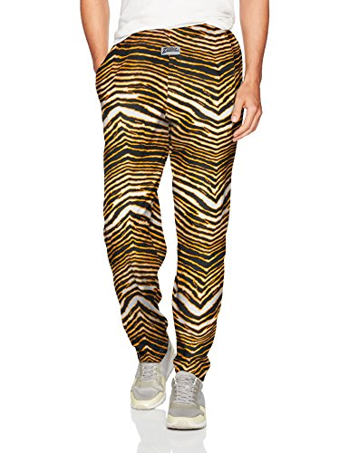 Zubaz Men's Classic Zebra Printed Athletic Lounge Pants, Black/Gold, L