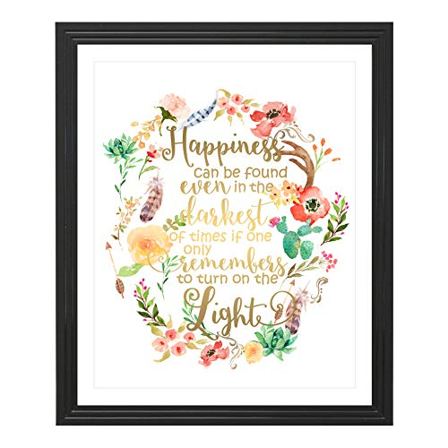 Eleville 8X10 Happiness can be found in the darkest of times Real Gold Foil and Floral Watercolor PrintUnframed Dumbledore Harry Potter Quote Nursery decor wall art Wedding Holiday Gifts WG085