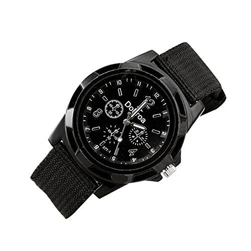 Find Bargain Goddessvan Men's Fashion Sport Braided Canvas Belt Watch (Black)