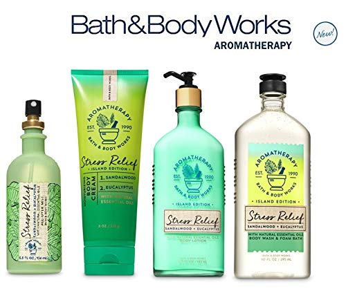 Bath and Body Works SANDALWOOD EUCALYPTUS Deluxe Spa Set Aromatherapy STRESS RELIEF ~ Body Wash & Foam Bath - Body Lotion ~ All Over Mist & Body Cream