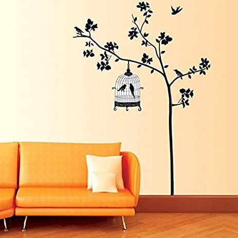 Amazon.com: ORDERIN Christmas Gift Wall Decal Mural Black Tree with ...