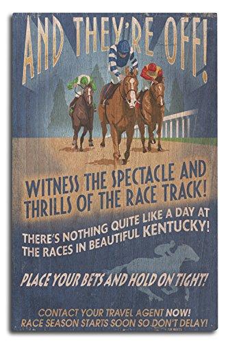 Lantern Press Kentucky - Horse Racing Vintage Sign (10x15 Wood Wall Sign, Wall Decor Ready to Hang)