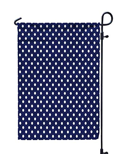 Shorping Welcome Garden Flag, 12x18Inch Pattern White Dots Sailor Navy Blue Background Desktop Blog Spot Fabric a for Wallpaper Website for Holiday and Seasonal Double-Sided Printing Yards Flags