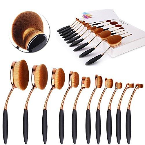 10 pcs Rose Gold Oval Makeup Brush Set - 9