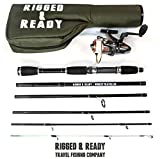 PERFORMANCE NANO CARBON TRAVEL/HOLIDAY FISHING ROD SET : Compact super strong nano-carbon 6 section 6 foot 6 inch rod, reel, line and 17 inch hard case. Compact and durable.