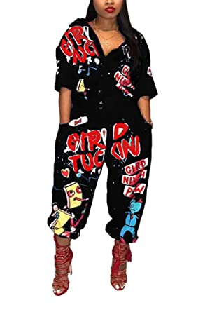 3997770a8b4 Women s Short Sleeve Button Cartoon Printing Patchwork Loose Sexy Nightclub  Party Jumpsuit Rompers