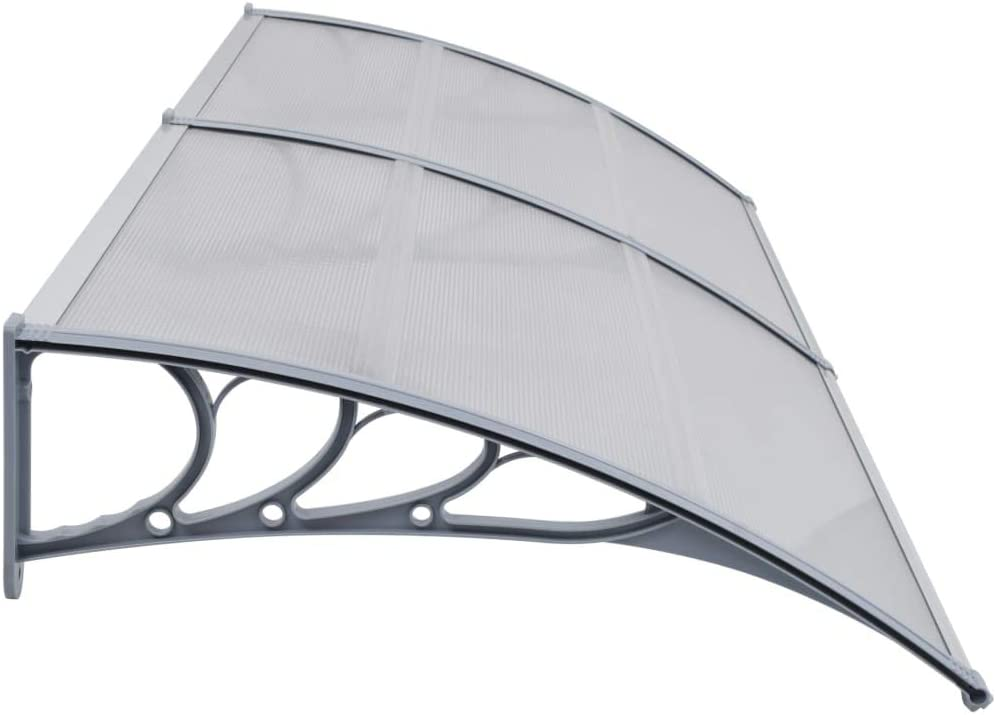 vidaXL T/ürvordach Haust/ürdach /Überdachung T/ürdach Pultvordach Vordach Haust/ür T/ür Dach Haust/ürvordach Grau 240x100cm Kunststoff Aluminiumleisten