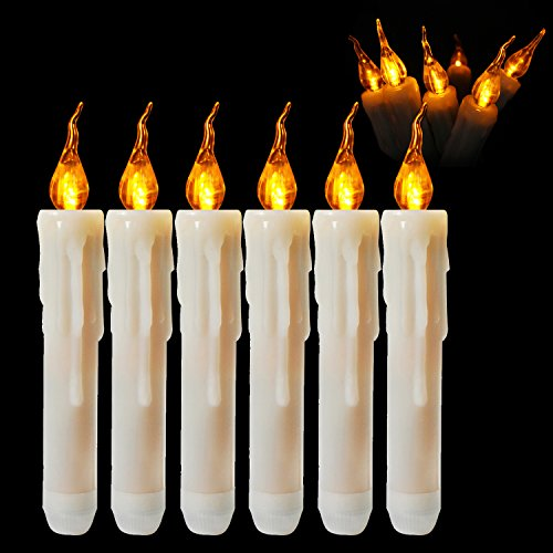 LED Taper Candles Battery Operated Flameless Candle Dipped Flickering Electric Pillar Candles for Christmas, Halloween, Thanksgiving, Wedding, Home Decor, Amber Yellow Bulb, Pack of 6 for $<!--$14.99-->